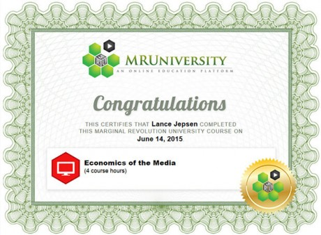 Economics of the Media Certification for Lance Jepsen
