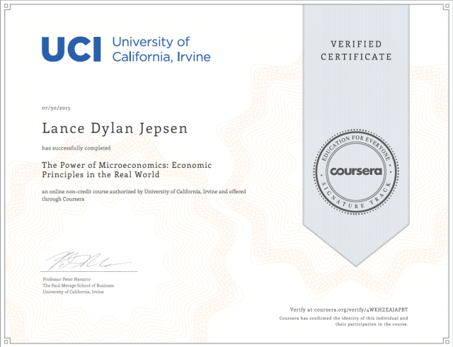 Microeconomics certification