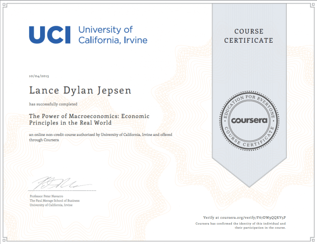 Macroeconomics certification