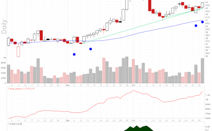 AMN Healthcare Services stock chart shows rising large players volume with a couple of pocket pivot signals.