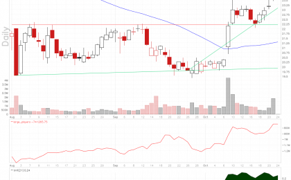 Mule stock chart shows rising large players volume.
