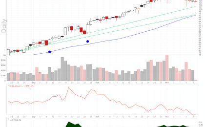 MKS Instruments stock chart shows a bullish flag pattern.