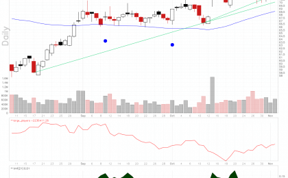 Trinseo stock chart shows a bullish continuation pattern on rising large players volume.