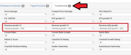 Settings to find companies with revenue growth