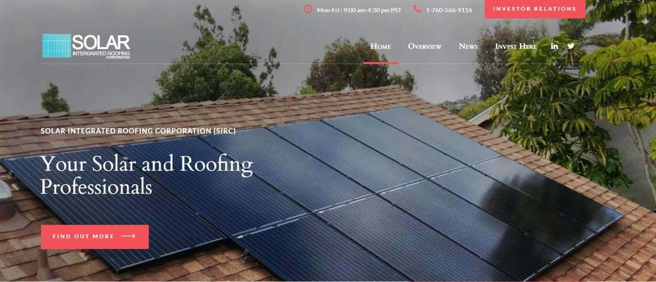 Solar Integrated Roofing Generated Record Revenue of Approximately $1.7 Million for the Month of October